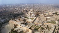 Aerial wide shot Mohammad Ali mosque (Alabaster Mosque) on the Citadel/ Cairo, Egypt