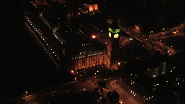 Aerial wide shot pan around Big Ben and across rooftop of Parliament / London, England