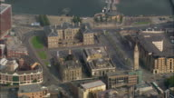 Aerial wide shot pan Customs House and Albert Memorial Clock/ Belfast, Northern Ireland