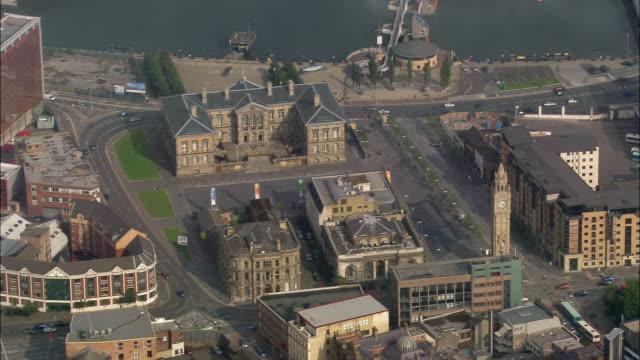 Aerial wide shot pan Customs House and Albert Memorial Clock/ Belfast, Northern Ireland