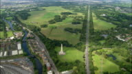 Aerial wide shot pan Phoenix Park and surrounding area/ Dublin, Ireland