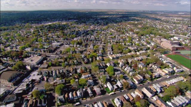 Aerial wide shot pan suburban area/ Linden, New Jersey