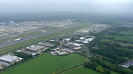 Aerial wide shots of a British Airways plane taking off on September 2 2014 at Gatwick airport United Kingdom