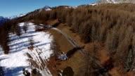 Aerial - Winter in italian Alps - Sestriere