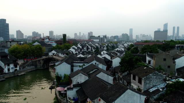 Aerial Wuxi QingMing bridge ancient canal scenic spot