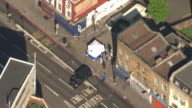 Aerial zoom in of forensic teams and police at the scene of the Finsbury Park mosque terror attack