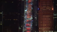 Aerial Zoom Out 5th Ave Traffic at Night