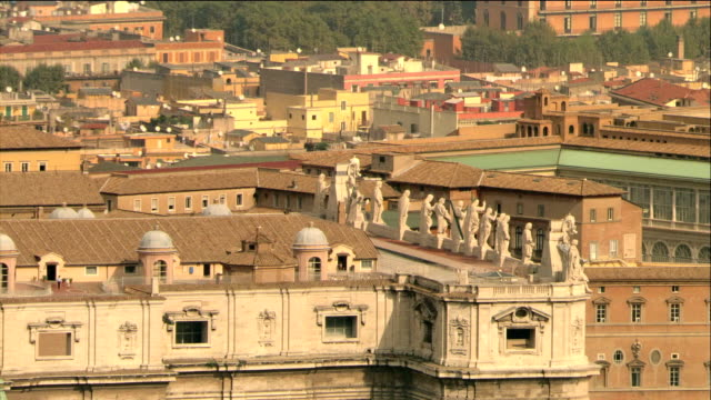 Aerial zoom out architectural detail of St. Peter's Basilica in Vatican City / Rome, Italy
