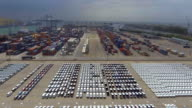 Aerial:Auto export car wait for deliver