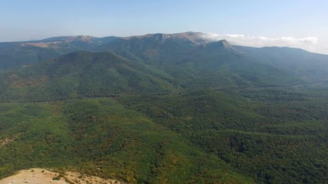 AERIAL:Autumn forest on mountain ridge