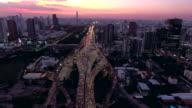 Aerial:Bangkok view at dusk