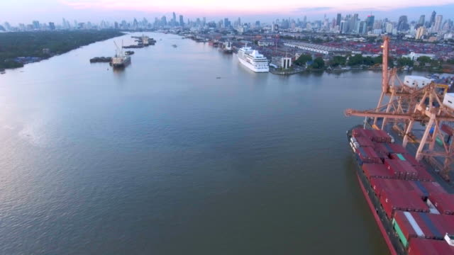Aerial:Container ship in the harbor