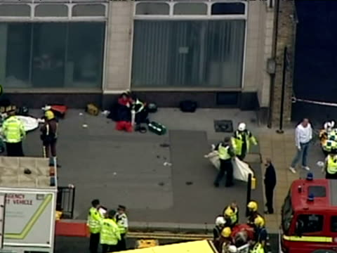 Aerials of Emergency Services outside Aldgate Station after 7/7 Bombings EXCLUSIVE