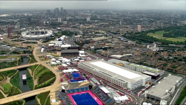 Aerials of Olympic Park and athletes' parade preparation Stratford Olympic Park AIR VIEWs/ AERIALs Olympic Stadium and Olympic Park including...