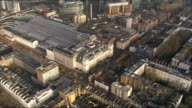 Aerials of Paddington Station and surrounding area ENGLAND London of tower blocks / River Thames / industrial units / Royal Albert Hall and Albert...