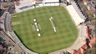 Aerials shots of Trent Bridge Cricket Ground home of Nottinghamshire County Cricket Club pan over pitch and pavillion at historical ground ** NOTE...