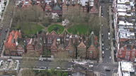 Aerials showing large London houses expensive Million pound plus properties located in exclusive areas of London Chelsea Kensington and Westminster...