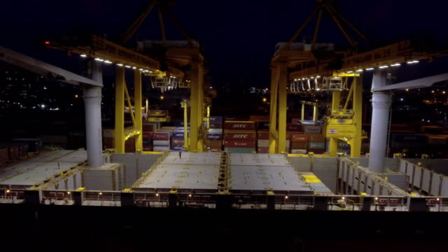 Aerial:Transport at Shipping port at night