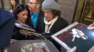 Aerosmith guitarist Joe Perry leaving SiriusXM Satellite Radio signs for fans in New York City at Celebrity Sightings in New York