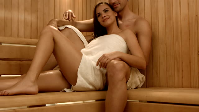 HD DOLLY: Affectionate Couple In The Sauna