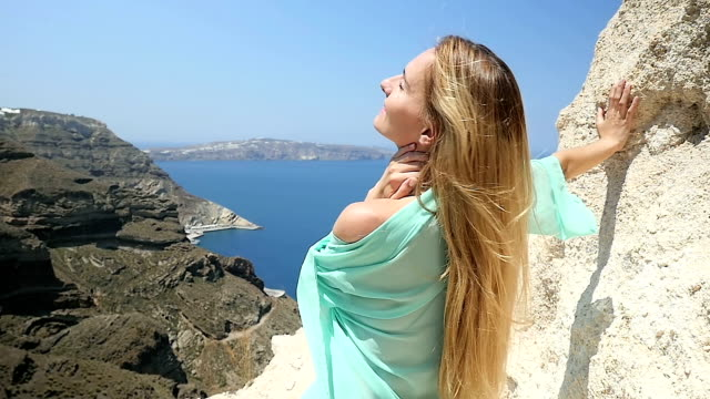 Affectionate woman & seascape