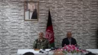 Afghan Defense Minister Abdullah Habibi and Army Chief of Staff Gen Qadam Shah Shahim attend a press conference at the Ministry of Defence in Kabul...