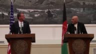 Afghan President Ashraf Ghani and US Secretary of Defense Ashton Carter hold a joint press conference at Presidential Palace in Kabul Afghanistan on...