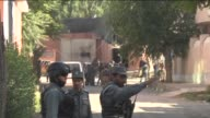 Afghan security forces patrol around the guesthouse in the capital Kabul Afghanistan on May 27 2015 Afghan security forces have repelled an attempt...