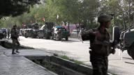 Afghan security forces take positions near a Shia Muslim mosque after an attack during Friday prayer in Kabul Afghanistan on August 25 2017 Three...