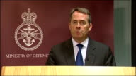 Afghan soldier kills three British soldiers Liam Fox statement ENGLAND London INT Liam Fox press conference SOT It is with sadness that the Ministry...