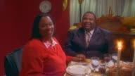 African American family Thanksgiving, slow motion