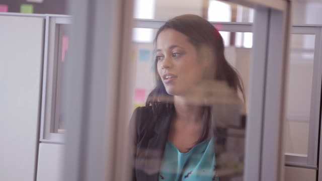 African American female executive chats with colleague in cubicle