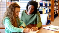 African American female teacher or tutor helps student with math assignment in library
