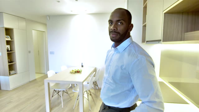 MS African Businessman Posing In The Kitchen