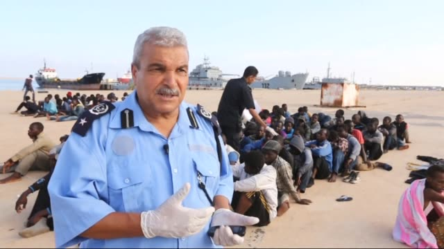 African origin illegal migrants who attempting to reach Europe were captured by Libyan security forces in Tripoli Libya on 5 October 2015