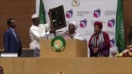 African Union Commission Chairperson Nkosazana Dlamini Zuma and UN Secretary General Antonio Guterres speak during the 28th African Union Summit at...