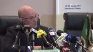 African Union Commissioner for Peace and Security Smail Chergui speaks to the press members during a news conference within the 28th AU Summit at the...