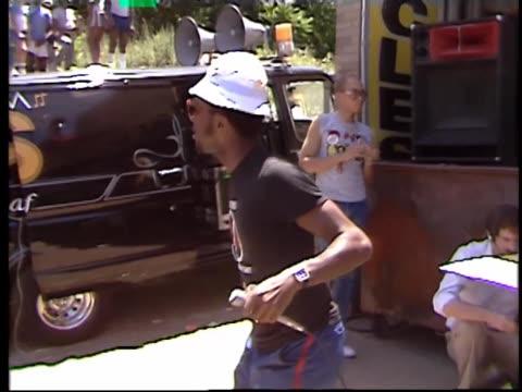 AfricanAmerican Radio DJ raps and dances on street