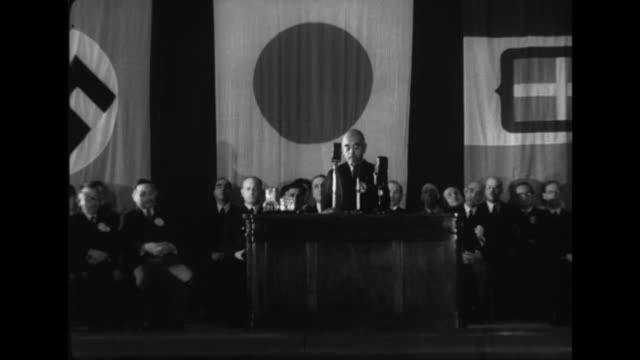 After Japanese Foreign Minister Teijiro Toyoda and Italian ambassador Mario Indelli speak on the anniversary of the Triple Alliance German ambassador...