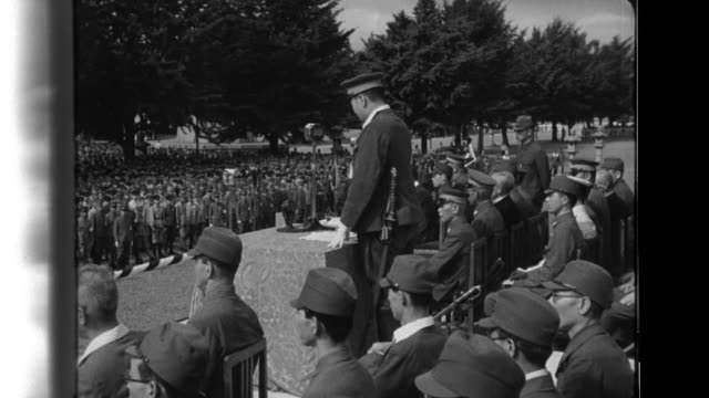 After Major General Nakao Yahagi Head of Army News Department speaks to a rally of Japanese and Korean youth members of the DaiNippon Sangyo...