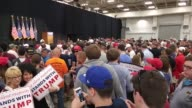 After meeting with Indiana Governor Mike Pence GOP frontrunner Donald Trump makes his first campaign stop in Indianapolis Attendees began lining up...