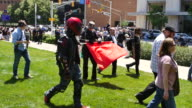 After protesting against the 'antiSharia' march near the Indiana Statehouse counter protesters finally leave the area Saturday June 10 2017 in...