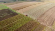 Agriculture aerial - harvesting soybeans