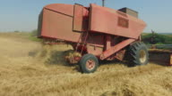 Agriculture works: threshing machine in the field