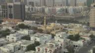 Ahbu Dabi, buildings and Mosque, wide shot, Abu Dhabi, United Arab Emirates