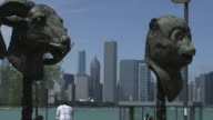 Ai Wei Wei's 'Circle Of Animals - Zodiac Heads' With The Chicago Skyline