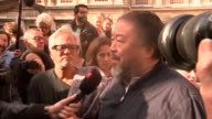 Ai Weiwei and Anish Kapoor lead migrant solidarity march in London ENGLAND London EXT Ai Weiwei and Anish Kapoor speaking to press SOT / various...