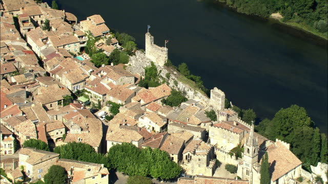 ZO, AERIAL, Aigueze village and Ardeche Valley, Rhone-Alpes, France