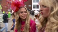 Aintree Ladies Day 2016 / Grand National preview ENGLAND Merseyside Liverpool Aintree Racecourse EXT Various of women racegoers in colourful dresses...