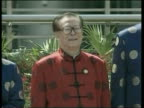 Air attacks / ground operations POOL via REUTERS Shanghai President George WBush wearing chinese jacket Chinese President Jiang Zemin INT World...